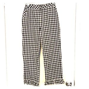 Topshop gingham print pants with flare trim